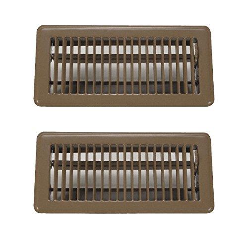 """Rocky Mountain Goods 4"""" x 10"""" rejillas de ventilación de suelo paquete de 2 – Registro de suelo caminable resistente – Acabado premium – Palanca de suministro de aire fácil de ajustar (marrón)"""