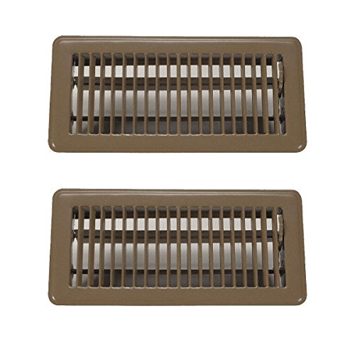 Rocky Mountain Goods 4 x 10 Floor Vents 2 Pack - Heavy Duty Walkable Floor Register - Premium Finish - Easy Adjust air Supply Lever (Brown)