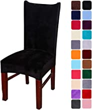 smiry Velvet Stretch Dining Room Chair Covers Soft Removable Dining Chair Slipcovers Set of 6, Black