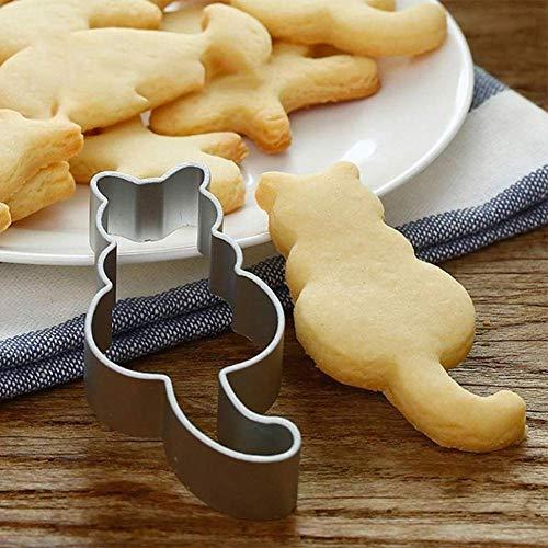 CAOLATOR Schöne Tiere Ausstecher Edelstahl Weihnachten Schokolade Keks Biskuitform Kuchen Plätzchen Ausstecherform - Katze