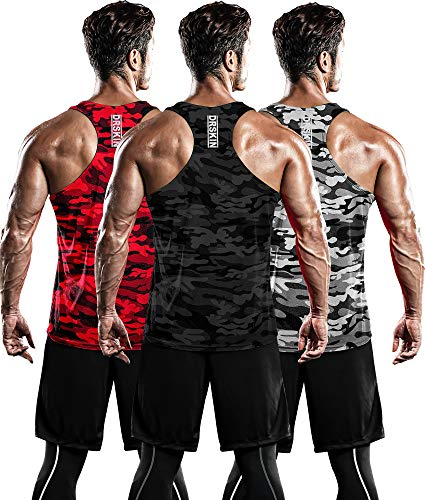 DRSKIN Men's 3 Pack Dry Fit Y-Back Muscle Tank Tops Mesh Sleeveless Gym Bodybuilding Training Athletic Workout Cool Shirts (BTF-ME-TA-(MG,MR,MB), M)