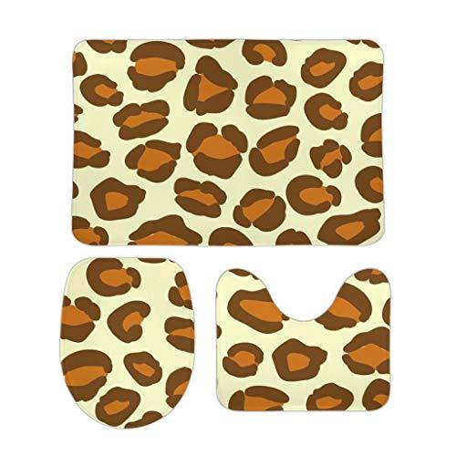 O2ECH-8 3-delig badkamertapijt luipaardenkorrel zacht U-vormige wc-vloermat badmat/toiletbrilafdekking Low-profielen - warm voor deurdecoratie
