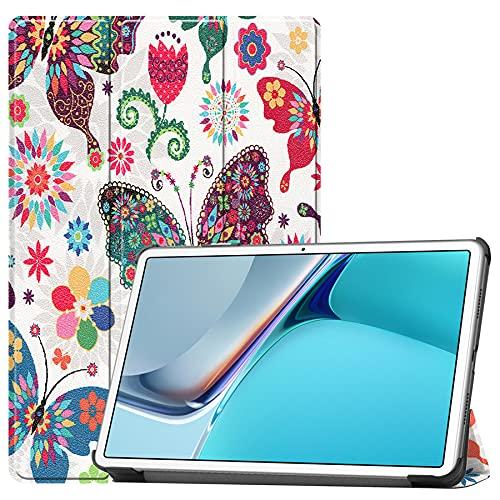 SENSBUN Funda para tablet Lenovo Tab M7 (7 pulgadas), ajuste delgado de silicona parachoques a prueba de golpes Folio cubierta de pie, mariposas