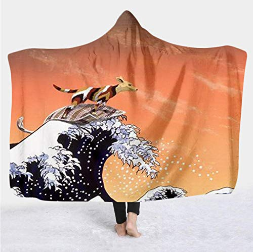 Mantas para cama Famoso The Great Wave Impresión 3D Manta de tiro Sherpa súper cálida Mantas de lana gruesas y difusas para todas las estaciones Extra suaves para el sofá de la cama Colo B_140*110cm