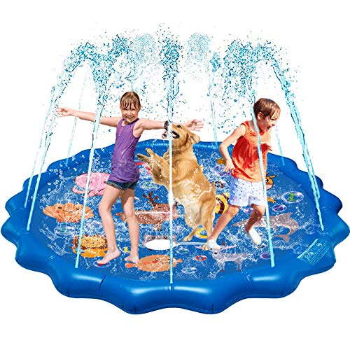 "QDH Splash Pad for Kids, 68"" Outdoor Summer Splash Mat with Alphabet for Toddlers, Babies, and 1-12 Years Old Boys & Girls, Wading Pools & Kids sprinklers for Outside Fun Games, Party"