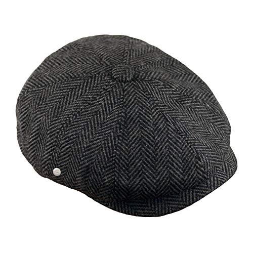 Dazoriginal Basco Scozzese Uomo Cappello Tweed Berretto Piatto Coppola (Grigio, M 56-57 CM)