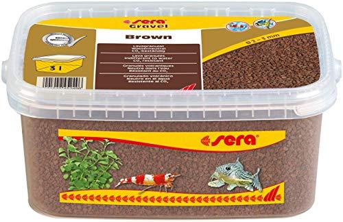 sera Gravel Brown (Ø 2 - 3 mm) - Brauner Aquarienkies für alle Aquarien - frei von Schadstoffen - geeignet als Garnelenkies, 3 liter, 32259