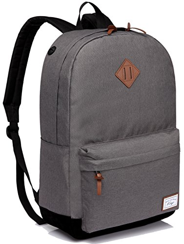 School Backpack, Kasqo Water-Resistant Classic Lightweight Travel Work College Laptop Grey Bookbag for Men Women Teen Girls Boys with Side Pocket Earphone Port