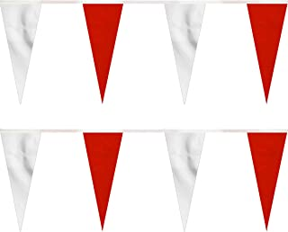 FlagandBanner Red/White Heavy Duty String Icicle Pennants (30 ft.)