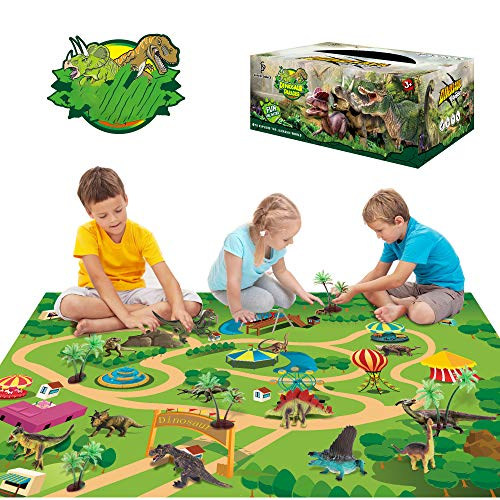 Sinceroduct Dinosaur Toys Activity Play Mat 47.2 x 31.5 in - 13 Realistic Dinosaur Figures Playset to Create a Dino World Including T-Rex, Educational Toy for Age 3 4 5 6 Year Old