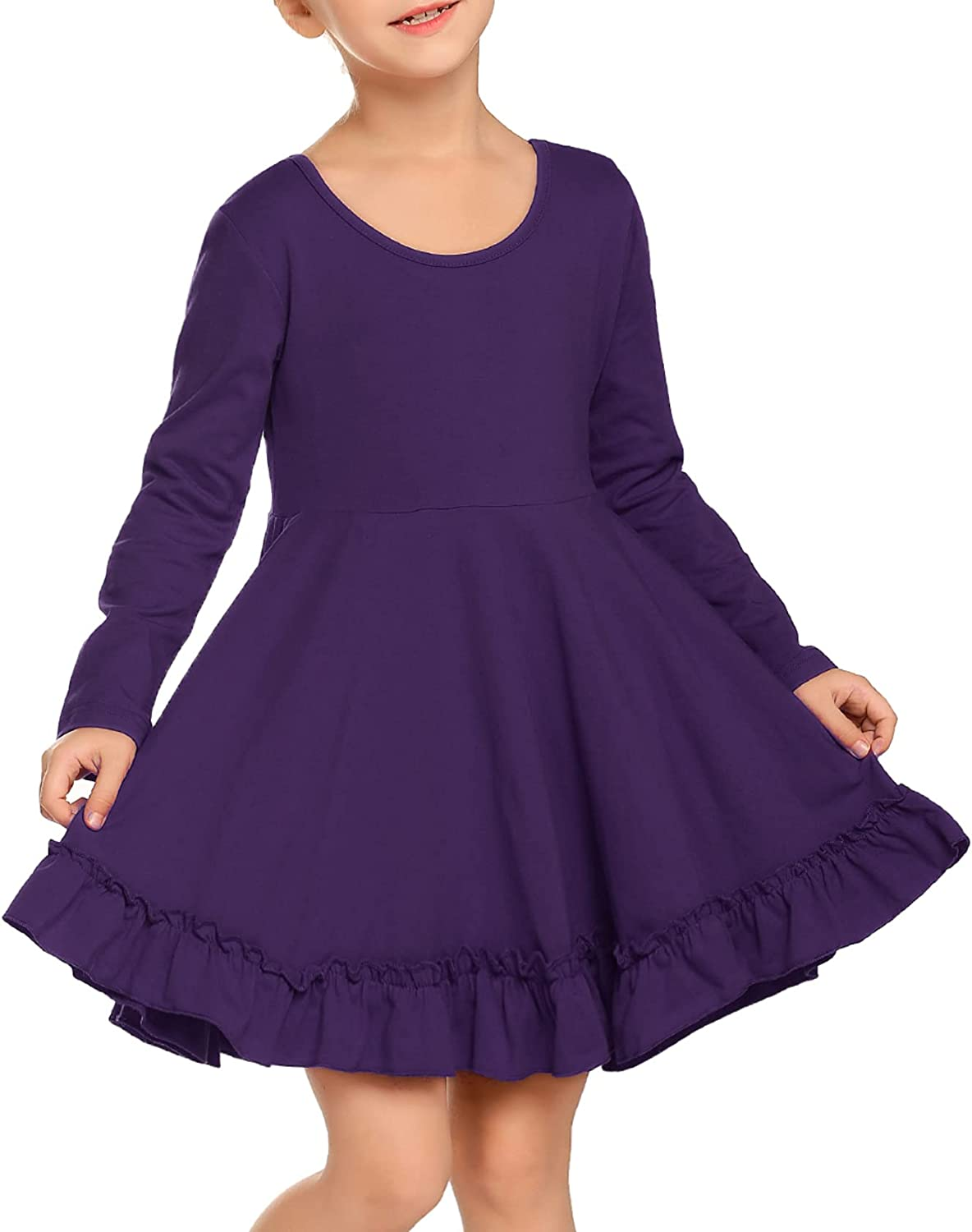 Arshiner Girls Dress Long Sleeve A Line Twirly Skater Loose Casual/Party Dresses with Pocket