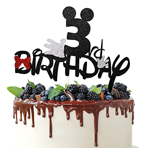 3rd Birthday Cake Topper for Mickey Minnie Mouse Theme Birthday Party Decorations, 3 Years old Birthday Cake Decor Supplies, Bows and White Gloves Sign (Black Glitter)