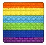 CRAZYCHIC - Pop It Gigante XXL Fidget Toys - Popit Enorme Push Bubble Juguetes Niños Barato - Juegos Antiestres Grande Hijos Adultos - Burbujas Multicolor Arco Iris Regalo Niño Niña - Cuadrado