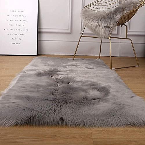 Ultra zacht pluizig gebied tapijtstoel bank dekkers voor slaapkamer vloer sofa woonkamer decoratieve tapijten kamer home decor luxe faux bont schapenvacht tapijt-champagne-Grijs_50x70cm (20x28 in