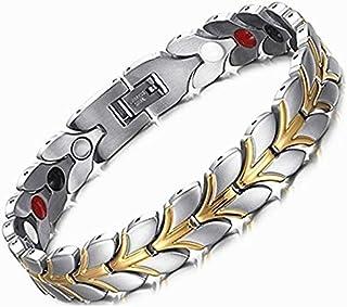 Zealite Women'S Health Stainless Steel Bracelet and Bangle Gold Health Magnetic Bracelet Titanium Steel Magnet Bracelet Wh...
