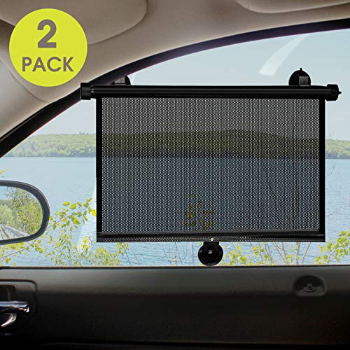 Maxpart Car Rear Side Window Sunshade 2 Pack, Retractable Sun Shade for Car Window | Keeps Your Car Cool | Protect Kids, Pets from Harmful UV Rays Fits Most Cars, Trucks, SUVs, Vans or RVs