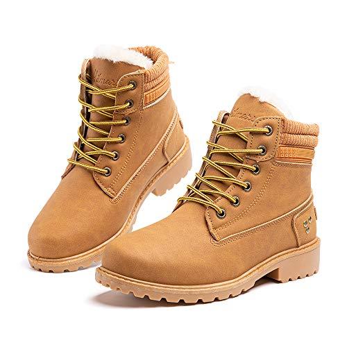 Botas Invierno Mujer Cálidos Forradas Zapatos de Invierno Clásicas Moda Botas de Nieve Antideslizantes con Cordones Planas 3.2 CM 3 Marrón Talla 43 EU