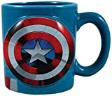 Vandor Marvel Captain America Shaped Ceramic Soup Coffee Mug Cup, 20 Ounce, X-Large (Pack of 1)
