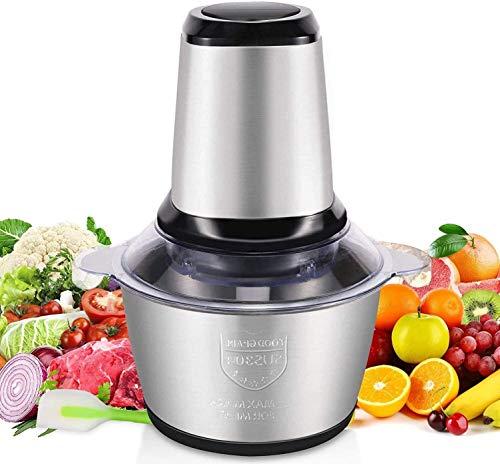 Musaraña eléctrica, 2L cocina eléctrica musaraña con 4 cuchillas de acero inoxidable, 250W mezclador de frutas cocina verduras especias de carne, etc.