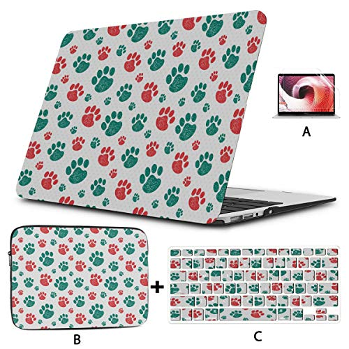 Macbook Air Shell Colorful Animal Cat Dog Paw Print Macbook Pro Case 2018 Hard Shell Mac Air 11'/13' Pro 13'/15'/16' With Notebook Sleeve Bag For Macbook 2008-2020 Version