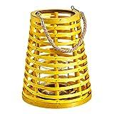 Portavelas con Vaso Amarillo de Madera y Cristal de 21x15x26 cm - LOLAhome