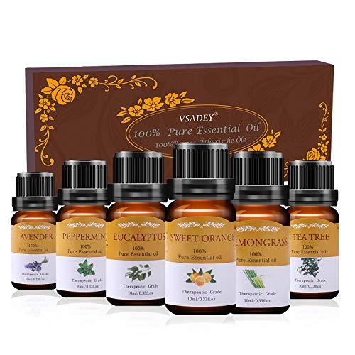 Vsadey Oli Essenziali di Aromaterapia Set 6 x 10 ml Olio Essenziale...