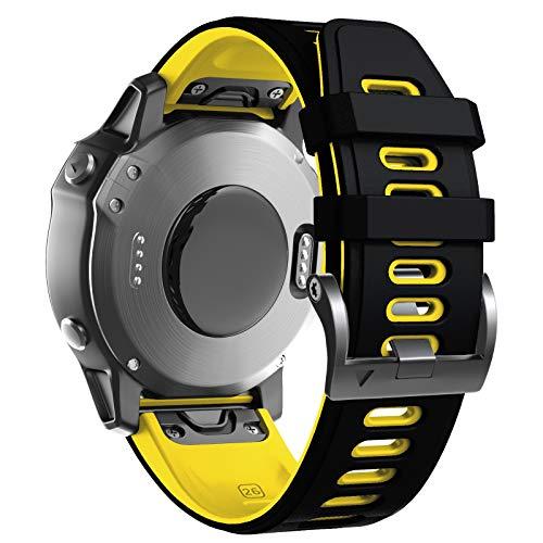 ANBEST Pulsera de Silicona Compatible con Fenix 6X/Fenix 5X Correa, Pulsera de Repuesto de 26mm con Liberación Rápida para Fenix 5X Plus/Fenix 6X Pro/Fenix 3/Fenix 3HR, Negro/Amarillo