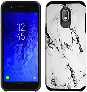 Slinco Compatible with Samsung Galaxy J7 2018/J7 Aero/J7 Star/J7 Top/J7 Aura/J7 Crown/J7 Refine Case with HD Screen Protector Dual Layer Protective Cover Shell Fit with Galaxy J7 2018(White Marble)