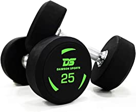 DAWSON SPORTS Unisex Adult 1223010 TPU Coated Dumbbell - 25kg (1223010) - Black/Green, 25kg
