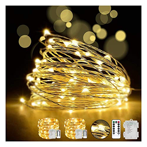 LED Fairy String Lights with Remote Control - 2 Set 100 LED 33ft/10m Micro Silver Wire Indoor Battery Operated Firefly String Lights for Garden Home Party Wedding Christmas Decoration(Warm White)