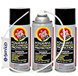 Fluid Film 12 Oz Undercoating Protection Aerosol Spray Can Black 3 Pack, Rust Inhibitor and Prevention, Anti Corrosion Multi Purpose Penetrant and Lubricant, Spray Can Extension Wand and Tissue Pack