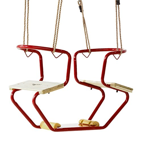 FATMOOSE Doppelschaukel DuoRider Gondelschaukel Schaukelsitz Duositz, 920x440x530mm, Metall, rot