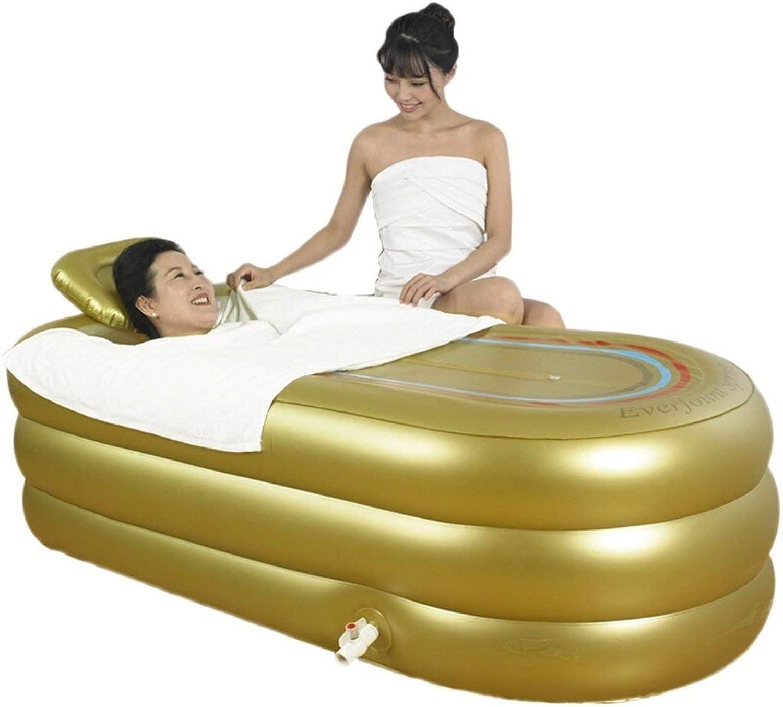 LILI Badkuip Badewanne Zusammenklappbare aufblasbare Badewanne Dickere Erwachsenen Badewanne Schlauch Kunststoff Erwachsenen Spa Faltbad mit Badematte (Farbe   Gold, Größe   168  78  45cm)