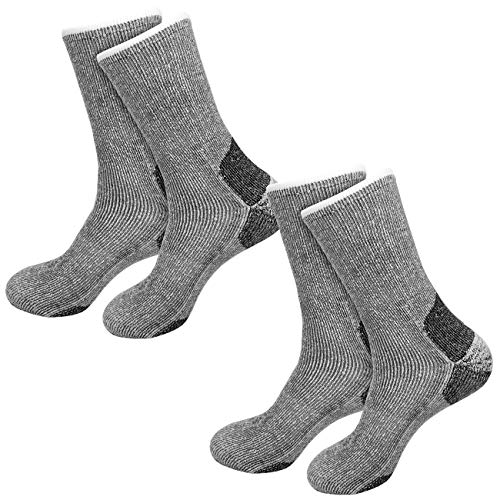 etrado fashion 2 Paar - Extrem robuste & wärmende Vollplüschsocken mit Alpakawolle & CORDURA® (2 Paar / 39-42 Grau)