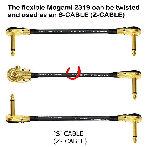6 Units - 12 Inch - Pedal, Effects, Patch, instrument cable CUSTOM MADE By WORLDS BEST CABLES – made using Mogami 2319 wire and Eminence Gold Plated ¼ inch (6.35mm) R/A Pancake type Connectors