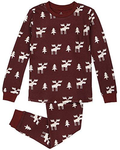 Kid's Holiday Sleepwear, Matching 2-Piece Quality Stretchy Cotton Pajama Set,red jam,2