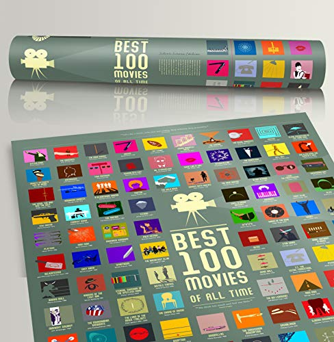 100 Movie Scratch Off Poster Top Films of All Time Bucket List by Travel Revealer Scratch Off Movie...