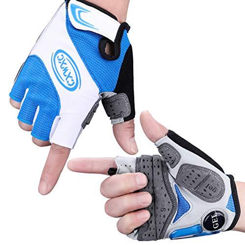 CXWXC Fahrradhandschuhe Herren Damen, MTB Handschuhe Halbfinger mit Gel-Polster fur Stoßdämpfung rutschfest Atmungsaktive Handschuhe Radfahren Sport Outdoor
