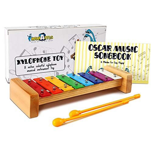 MiniArtis Xylophone for Kids | 8 Notes Diatonic Colorful Metal Bars | Wooden Xylophone Musical Toy Instrument | Music Songbook & Child Safe Mallets Included | Great Holiday Birthday Gift for Children