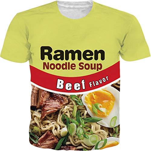 SKYRAINBOW Unisex Casual Printed T Shirt Lifelike Beef Flavor Ramen Noodle Soup Short Sleeve Stylish Funny Top Tee