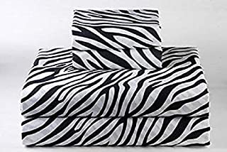 Way Fair Queen, Zebra Print 100% Egyptian Cotton 4-Piece Bed Sheet Set 400 TC Comes with 15 inches deep Pocket Fitted Sheet Soft, Luxury Sheets