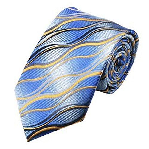 Jason & Vogue Designer Cravate dans Blanc Bleu avec Jaune Bleu Vagues