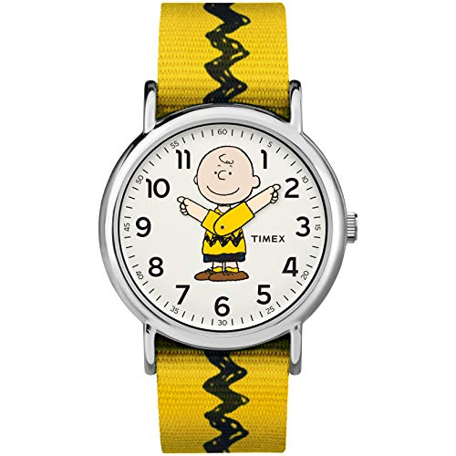 Timex Unisex TW2R41100 Weekender 38mm Peanuts Charlie Brown Nylon Slip-Thru Strap Watch