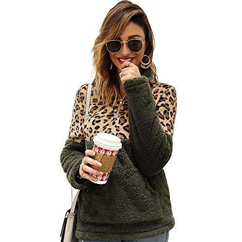 StarLifey Mujer Sudadera Otoño Invierno Patchwork de Leopardo Suelta Fleece Sudadera Outwear Top