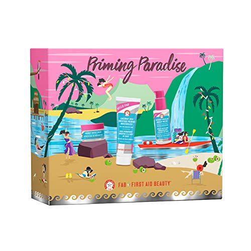 First Aid Beauty Hello FAB Priming Paradise Kit - Coconut Skin Smoothie Priming Moisturizer (Full Size), Coconut Water Cream and Coconut Micellar Makeup Melter (Trial Sizes)