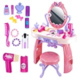 UNIH Kids Vanity Table Toy with Mirror Chair Set for Toddler Kids Little Girls Pink Makeup Kits Toys for 3 Year Old Girl