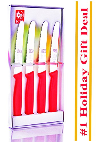 Adorable Gift Item, 4.25-inch 4 piece Set Steak Knives in Gift Box, Red Handle, By ICEL