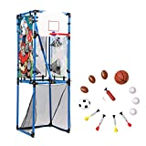 Sport Squad 5-in-1 Multi-Sport Toss Game Set - Play Football, Baseball, Basketball, Soccer, and Darts for Kids Birthday Parties - Lightweight and Portable