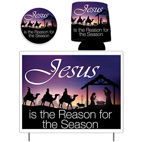 VictoryStore Yard Signs: Jesus is The Reason for The Season Yard Sign, Christmas Can Cooler and Christmas Car Decal | Yard Sign is Printed 2 Sided Includes Stakes