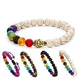 Aura Design 7 Chakra Perlenarmband für Damen und Herren - edle Naturperlen - Yoga Armband - Meditation - Buddha Armband - Stein Armband - Weiß & Buddha - [19,5 cm Umfang] & [8 mm Perlen] …